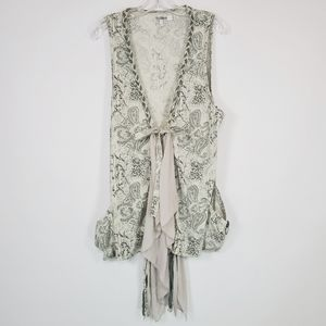 Monoreno printed light gray & sage vest sz: S
